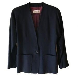 Jones New York Pure Virgin Navy Wool Suit Size 6
